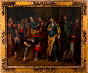 Lot 117: A Flemish school oil on copper painting depicting the Pericope Adulterae