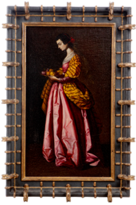 Lot 163: An oil painting of Saint Dorothy of Caesarea by Antonio Rivas