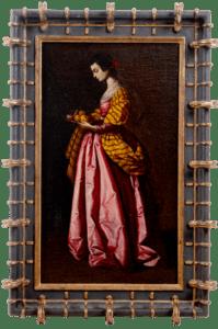 Lot 163: An oil painting of Saint Dorothy of Caesarea by Antonio Rivas