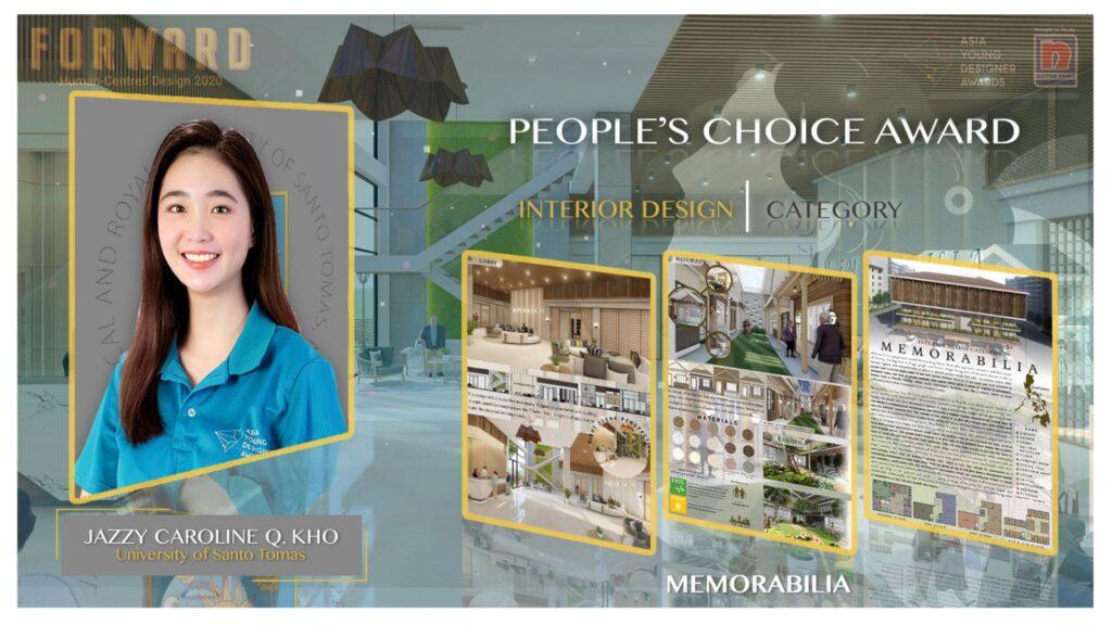 Jazzy Caroline Kho of the University of Santo Tomas in Interior Design
